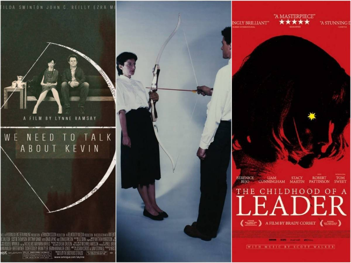 Tension and archery connect the two posters of We Need to Talk About Kevin and The Childhood of a Leader with Marina Abramovich's Rest Energy