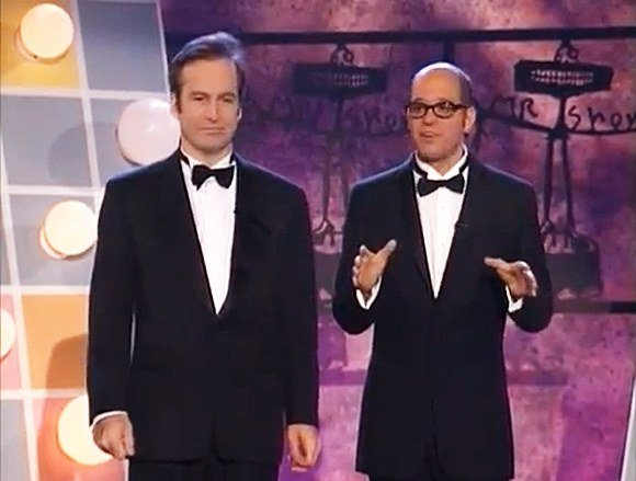 Bob Odenkirk and David Cross wear tuxedos and bowties on the set of Mr Show