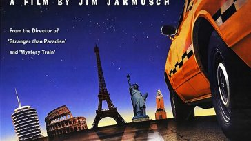 Film poster showing a taxi and landmarks of the cities in the film