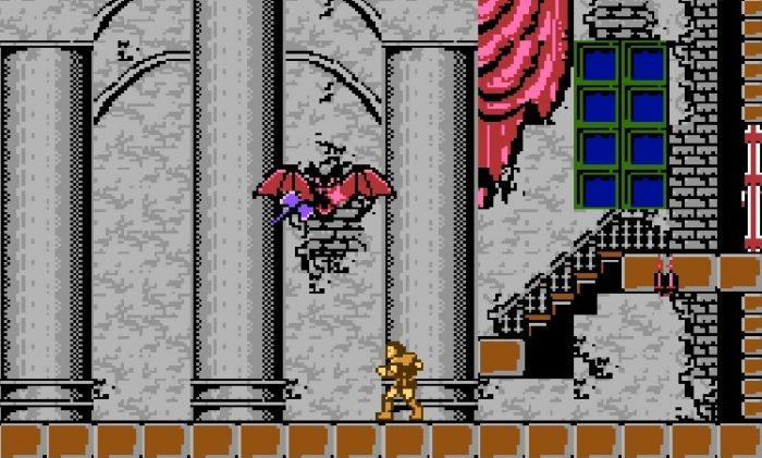 Simon fights the Phantom Bat. a giant bat who attacks with fireballs, using his Axe in the first boss fight to end level one.