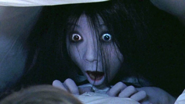 A Japanese ghost woman from The Ring opens her mouth
