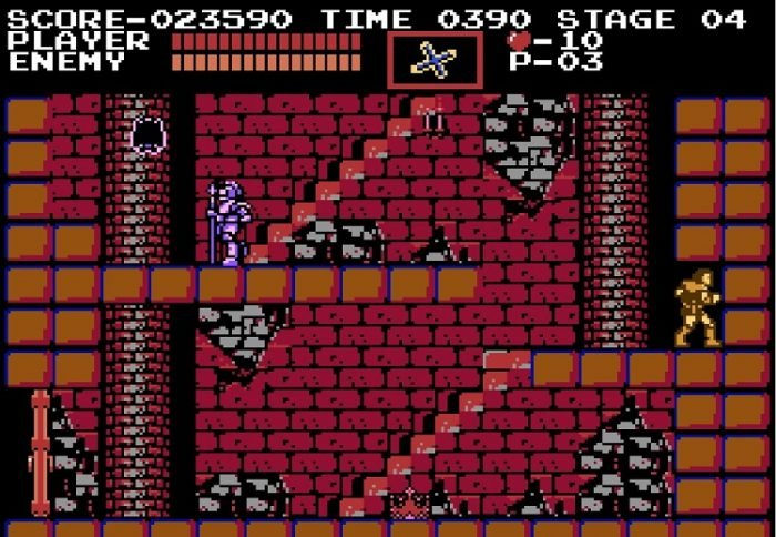 Simon breaks a section of wall and steps inside, causing a crown to appear at the beginning of Level Two.