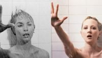 A side-by-side comparison of Marion Crane reaching out with mouth agape after being stabbed in the shower in the Psycho original and remake.