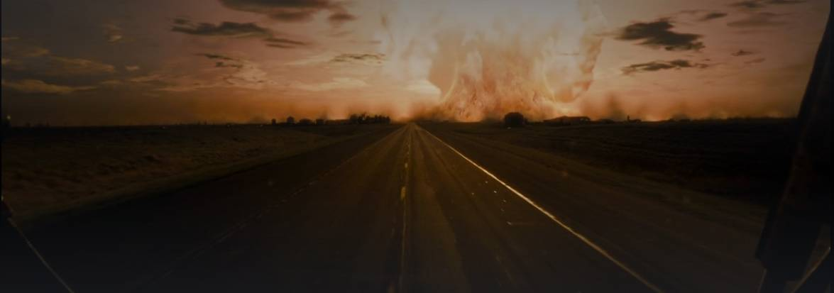 A nuke goes off in the background of a stretch of highway in The Crazies 2010