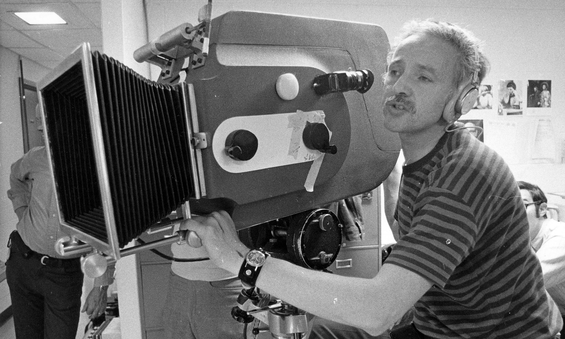 """Medium Cool"" director Haskell Wexler manning the camera."