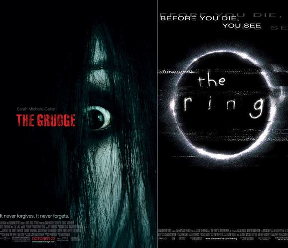 Movie posters for the American horror movies The Grudge and The Ring