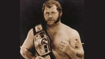 Harley Race with a winning belt for wrestling