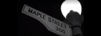 A Maple Street sign is attached to a lamp post