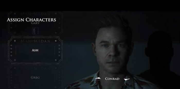A character choice screen shows Conrad being picked.