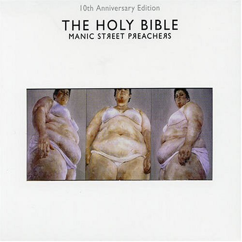 The Manic Street Preachers album cover for The Holy Bible show three nudes on an otherwise mostly white background.
