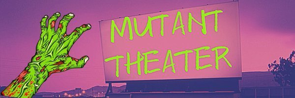 The Mutant Theater pink and purple logo with a green alien hand