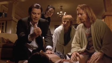 People hover over Mia Wallace as she almost dies