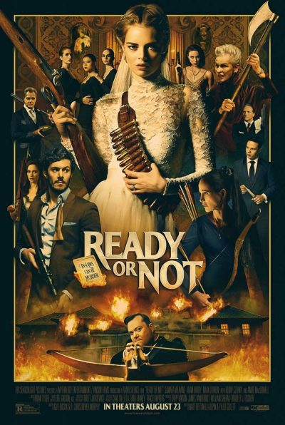 Movie poster for Ready or Not shows Grace and all the other characters holding weapons
