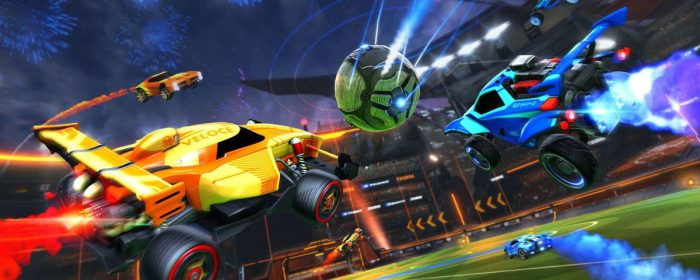 An action shot of Rocket League showing two cars going for the ball.