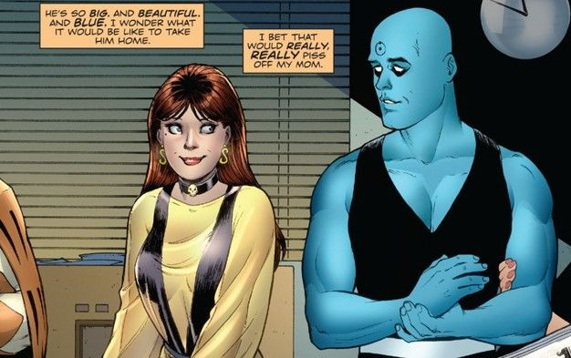 Silk Spectre II thinking romantically about Dr. Manhattan, who is sitting next to her, comic strip