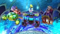 3 cars racing with different characters behind the wheel still from Crash Team Racing game on Switch