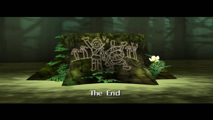 The final shot of the game, a tree stump with a carving of Skull Kid and Link