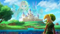 Artwork detailing Link standing in front of Hyrule Castle why Lorule Castle is reflected in a lake