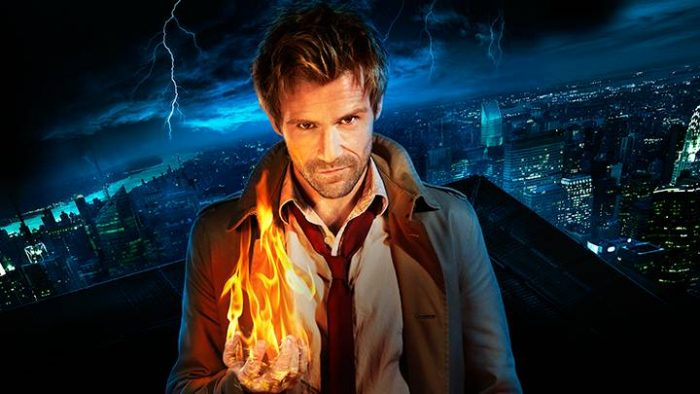 Promo shot of Constantine with fireball in hand