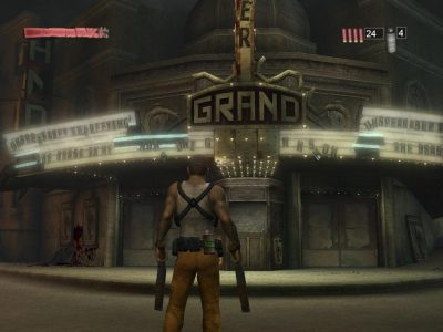 Torque holding dual shotguns in front of a theater in The Suffering Ties That Bind