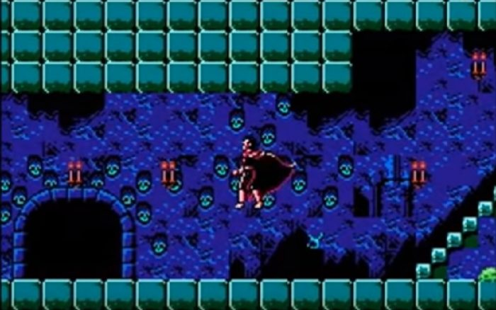 Alucard jumps around the castle depths where the walls and decorated with skull heads