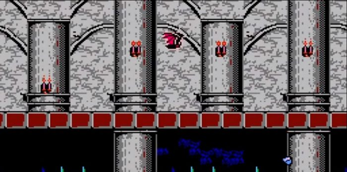 Alucard as a bat flies over a collapsing bridge.