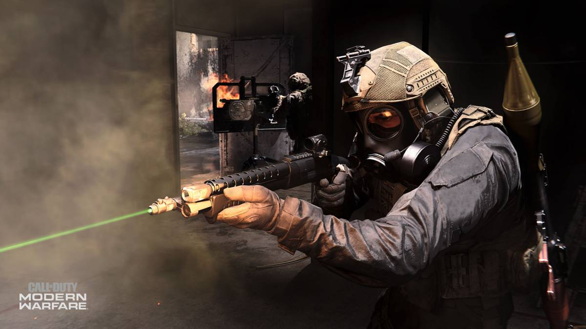 Call of Duty Modern Warfare 4 screen shot of a soldier wearing a gas mask and carrying a large gun