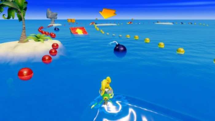 Coco rides a jet ski and dodges giant cartoon bombs floats on the aquatic race course.