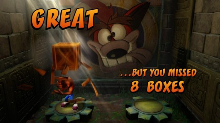 After the level, Crash gets hit over the head once for every box he missed.