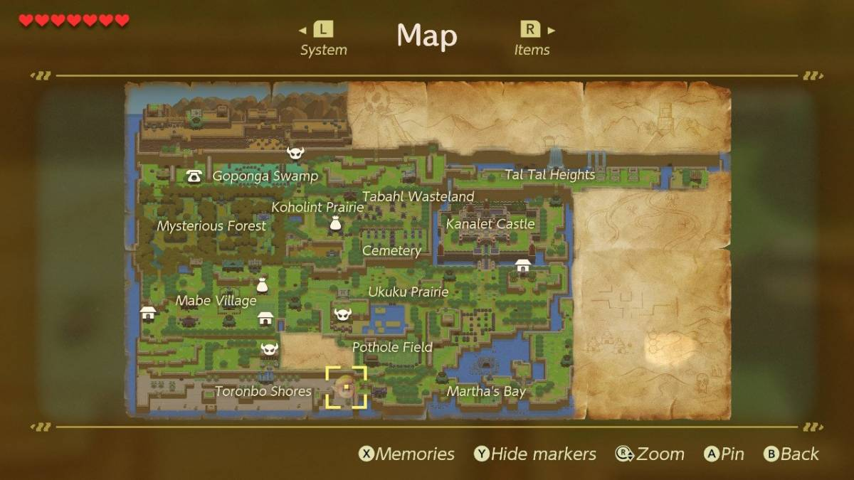 The map from Link's Awakening