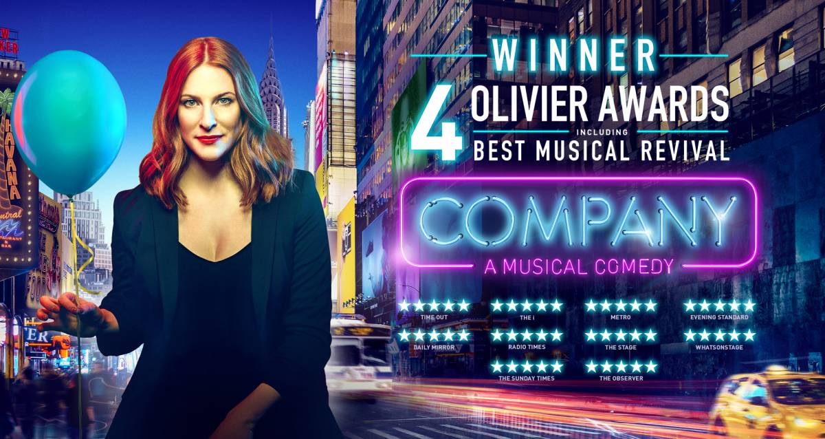 Promo poster for the 2018 revival of Company, with a photo of Katrina Lenk holding a blue balloon.