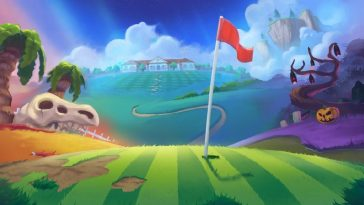 Golf Story load screen shows a green with a flag in the hole. The animation is surreal and twisted