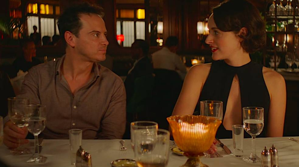 Fleabag and The Priest have a conversation at the engagement dinner