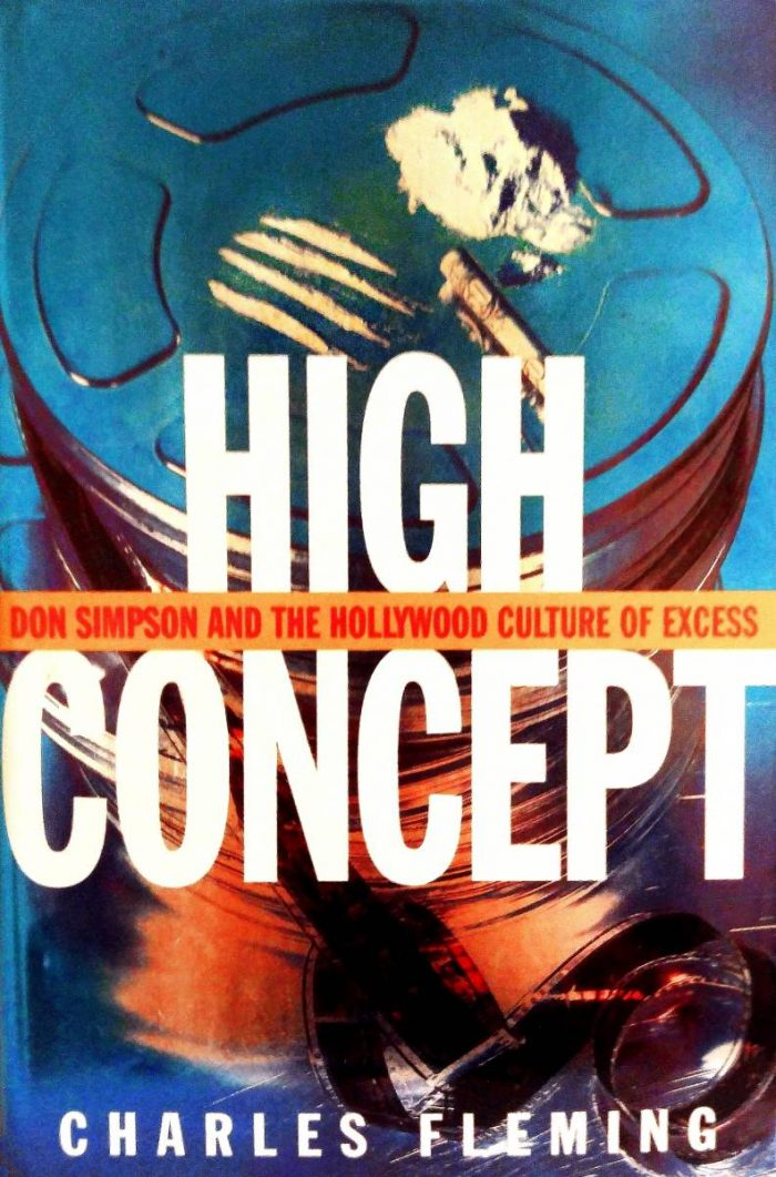 Image of cocaine lines and a rolled dollar bill on top of film cans appear on the book cover of High Concept Don Simpson and the Hollywood Culture of Excess