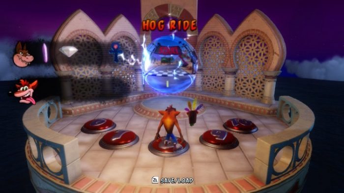 Crash 3 has a hub world, split into mini sections, which in turn are split into 5 levels, each signified by a button on the floor.