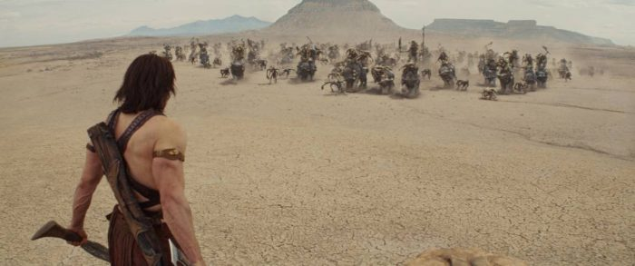John Carter, with sword drawn, stands down an army of Tharks by himself.