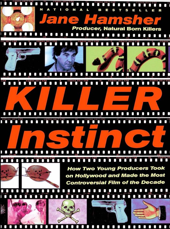 Images ogf Oliver Stone, guns, a snake, a skull and Robert Downey Jr apppear on the cover of Killer Instinct How Two Young Producers Took On Hollywood and Made the Most Controversial Movie of the Decade