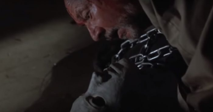 Loomis collapses on top of Michael at the end of Halloween 5.