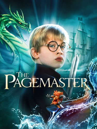 Movie poster for The Pagemaster (1994) featuring a dragon, a pirate ship and protagonist Richard (Macauley Culkin)