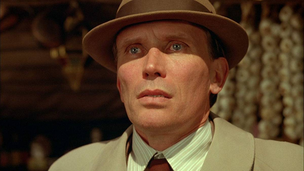 Peter Weller staring in horror in David Cronenberg's Naked Lunch (1991)