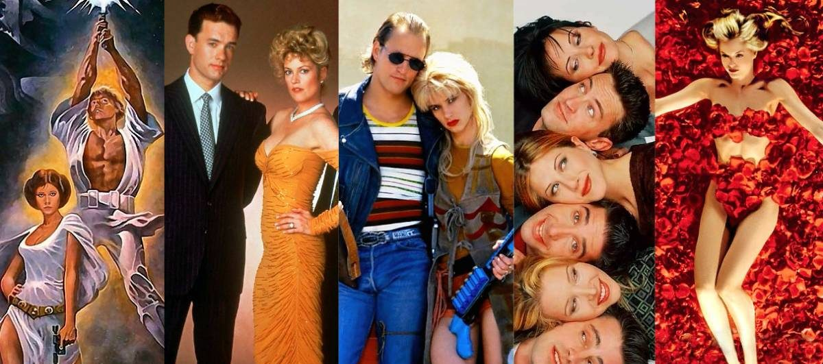 Images of Star Wars, The Bonfire of the Vanities, Natural Born killers, Friends and American Beauty