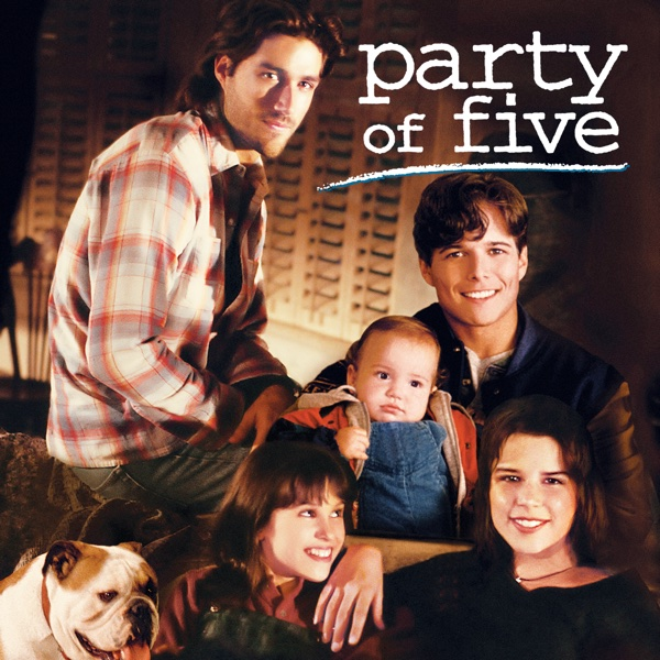 Fox's Party of Five cast Matthew Fox, Scott Wolf, Neve Campbell, and Lacy Chabert in posed marketing material for the new show.