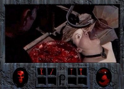 blonde woman with funnel in mouth in a death scene from Phantasmagoria video game