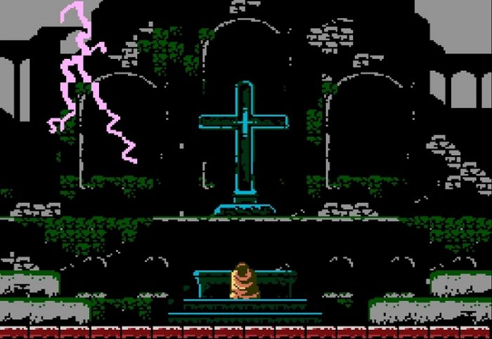 In the middle of a lightening storm, Trevor Belmont kneels in front of a giant cross