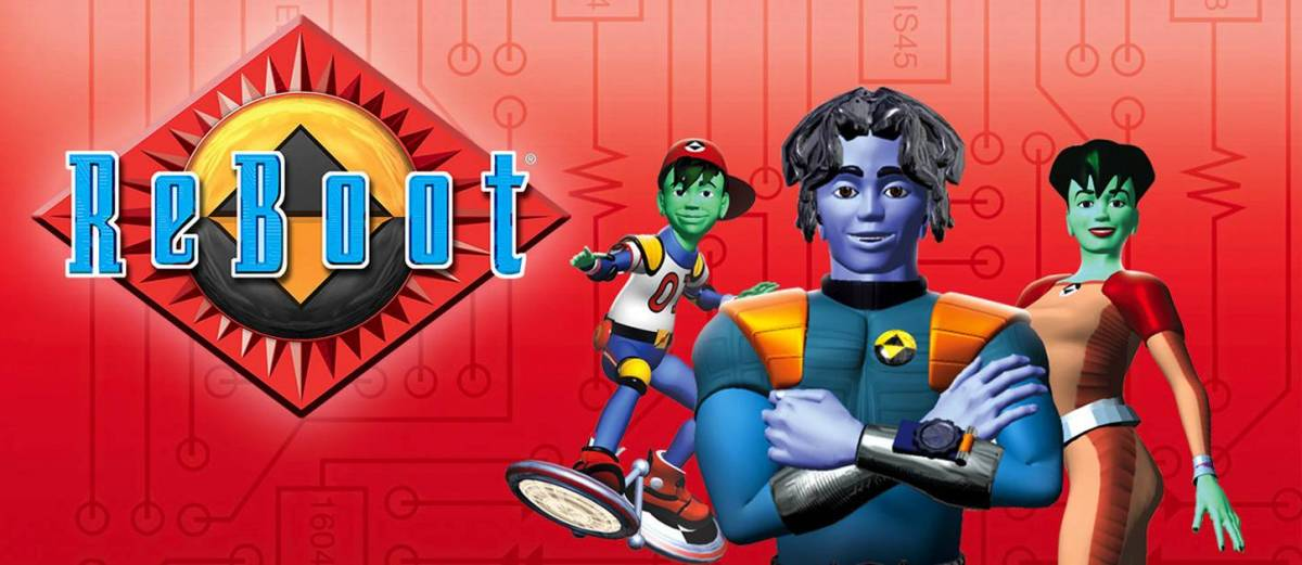 The logo and main cast of CGI cartoon ReBoot, featuring Enzo on his skateboard, Bob the Guardian with his arms crossed hero style, and Dot looking as intelligent and ready for action as ever.
