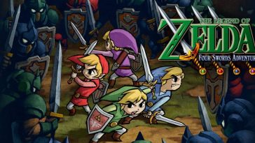 Four different colored Link's, Green, Red,Blue, and Purple, fend off a wave of enemiesfromallsides. The Game's title sits on the right.