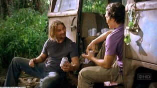 Sawyer and Jin share a Dharma beer