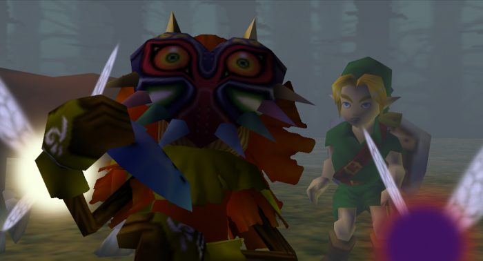Skull Kid plays the Ocarina while Link gets up from the ground in the Lost Woods