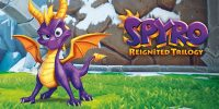 Spyro, the little purple dragon stands in front of three representations of the worlds in the Spyro trilogy