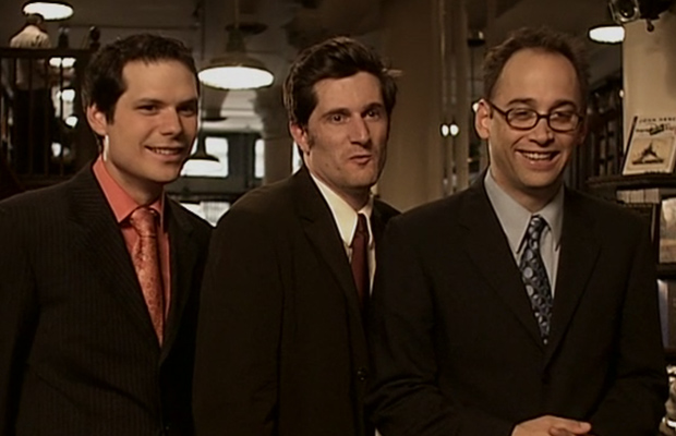 The three men of TV series Stella in their suits.